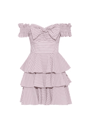 Caroline Constas Helena Off-the-shoulder Tiered Gingham Cotton-poplin Mini Dress Woman Blush Size S