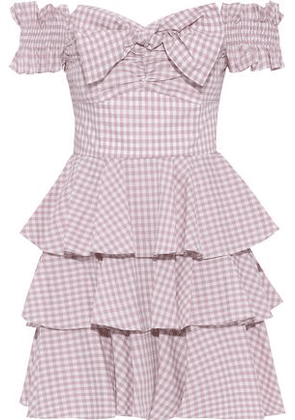 Caroline Constas Helena Off-the-shoulder Tiered Gingham Cotton-poplin Mini Dress Woman Blush Size M