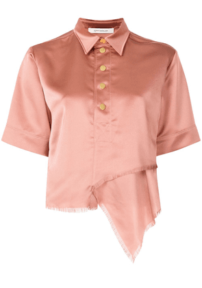 Cédric Charlier unfinished hemline short sleeve shirt - PINK
