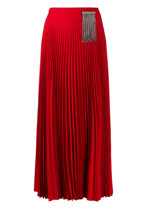 Christopher Kane crystal-embellished pleated skirt - Red