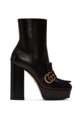 Gucci Black Leather Fringe GG Platform Boots