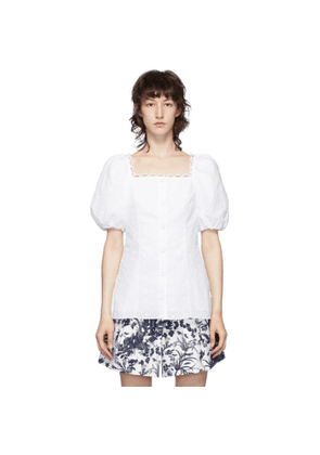 Erdem White Inez Puff Sleeve Square Neck Blouse