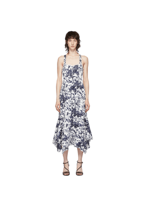 Erdem White and Navy Oleanna Bustier Dress