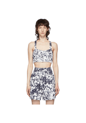 Erdem White and Navy Abril Bustier Crop Tank Top