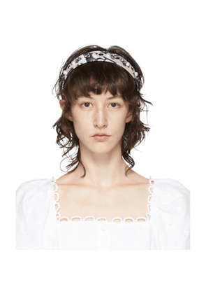 Erdem White and Navy Silk Frida Headband