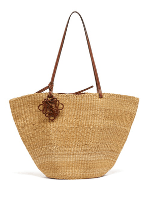 Loewe Paula's Ibiza - Shell Large Leather And Raffia Basket Bag - Womens - Beige
