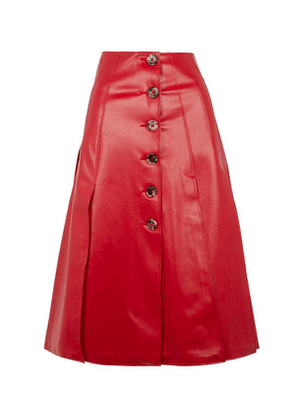 Faux-Leather Button-Up Pleated Skirt
