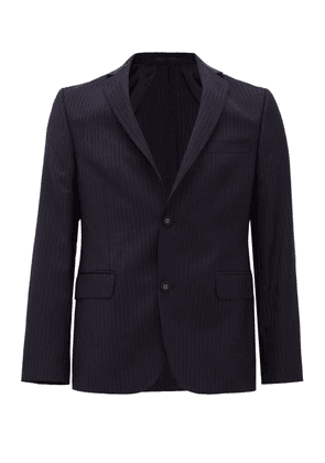 Officine Générale - 375 Single-breasted Pinstriped Wool-flannel Jacket - Mens - Navy White