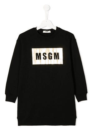 Msgm Kids logo print sweatshirt dress - Black