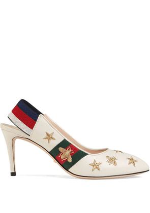 Gucci Embroidered leather Web slingback pump - White