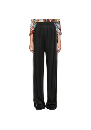 Balenciaga Black Satin Houndstooth Lounge Pants