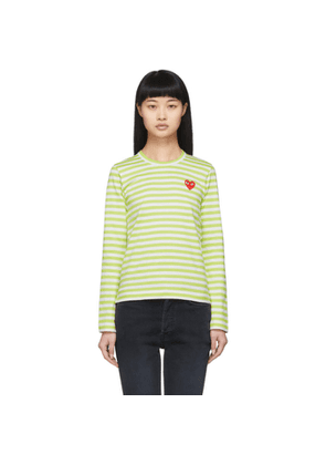 Comme des Garcons Play Green and White Striped Heart Patch Long Sleeve T-Shirt