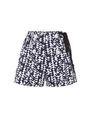 Printed high-rise cotton shorts