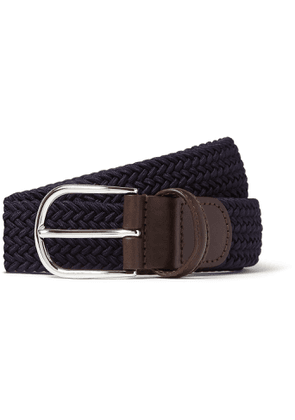 Anderson's - 3.5cm Black Leather-trimmed Woven Elastic Belt - Blue