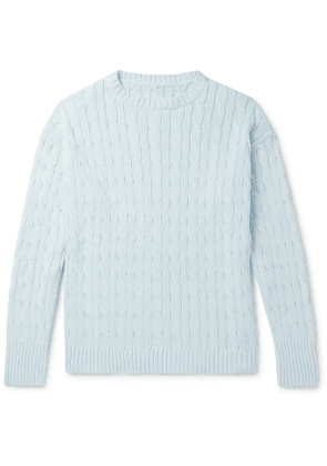 Anderson & Sheppard - Slim-Fit Cable-Knit Cotton Sweater - Men - Blue