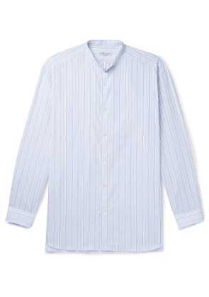 Charvet - Grandad-Collar Striped Cotton-Poplin Shirt - Men - Blue