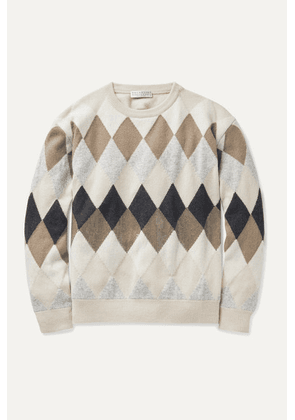 Brunello Cucinelli Kids - Sequin-embellished Argyle Wool-blend Sweater - Off-white