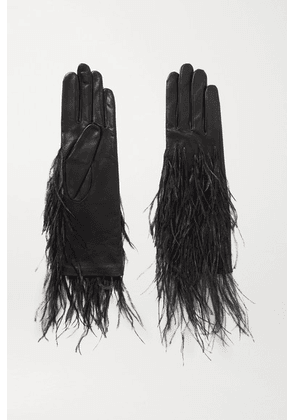 Agnelle - Feather-trimmed Leather Gloves - Black