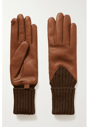 Agnelle - Cecilia Leather And Ribbed Alpaca Gloves - Tan