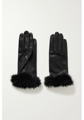 Agnelle - Boa Feather-trimmed Leather Gloves - Black