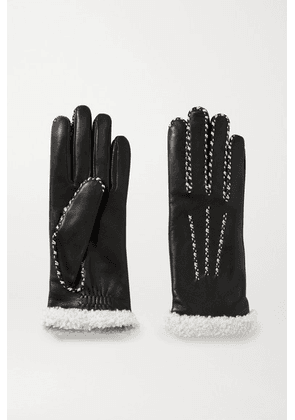 Agnelle - Marie Louise Alpaca-lined Leather Gloves - Black