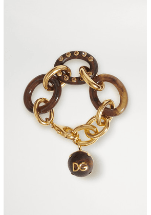 Dolce & Gabbana - Gold-tone, Resin, Wood And Crystal Bracelet - Dark brown