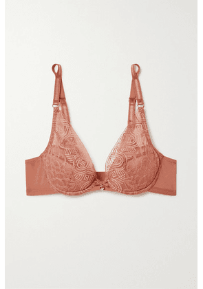 Chantelle - Dusk Stretch-tulle And Lace Padded Underwired Plunge Bra - Brick