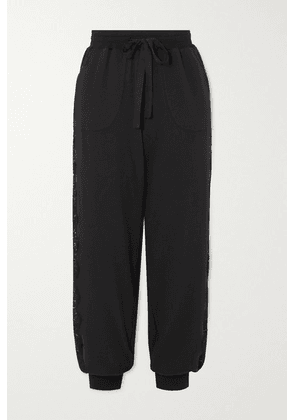I.D. Sarrieri - After Hours Lace-paneled Stretch Cotton-blend Jersey Track Pants - Black