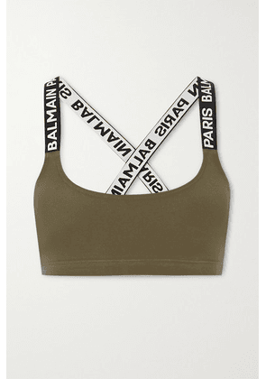 Balmain - Jacquard-trimmed Cotton-blend Jersey Soft-cup Bra - Green