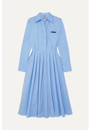 Prada - Pleated Cotton Shirt Dress - Blue