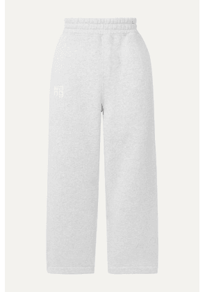 alexanderwang.t - Printed Cotton-blend Jersey Track Pants - Light gray