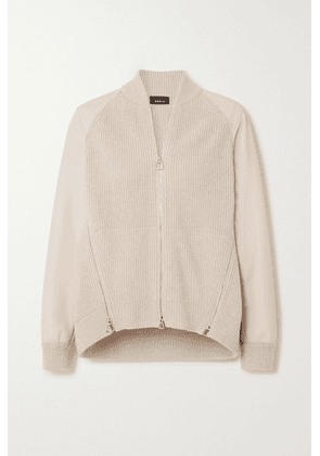 Akris - Ribbed Cashmere And Leather Cardigan - Beige