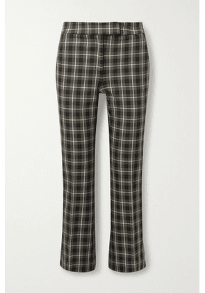 MICHAEL Michael Kors - Cropped Checked Cotton-blend Flared Pants - Army green
