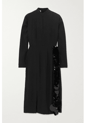 Prada - Paillette And Bead-embellished Crepe Midi Dress - Black