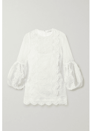 Andrew Gn - Chantilly Lace-paneled Silk-blend Point D'esprit Blouse - Off-white