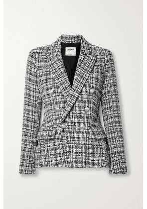 L'Agence - Kenzie Double-breasted Metallic Cotton-blend Tweed Blazer - Black