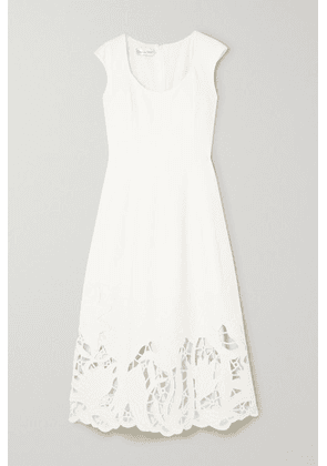 Oscar de la Renta - Embroidered Cutout Wool-blend Cady Midi Dress - Ivory