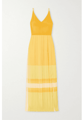 Akris - Pleated Color-block Silk Maxi Dress - Yellow