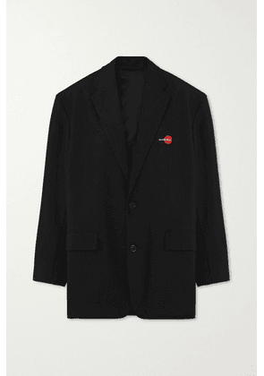 Balenciaga - Oversized Embroidered Wool-blend Twill Blazer - Black