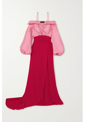 Brandon Maxwell - Cold-shoulder Two-tone Twill And Crepe Gown - Red