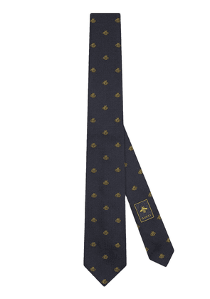 Gucci embroidered tie - Blue