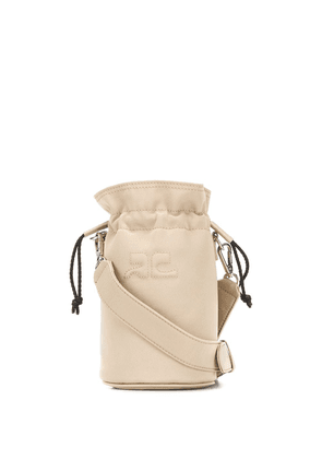 Courrèges quilted-logo cylindrical bucket bag - NEUTRALS