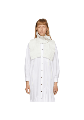 Enfold Off-White Chambray Taffeta Pleated Scarf