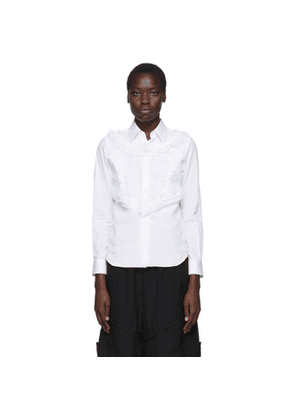 Comme des Garcons White Poplin and Georgette Ruffle Detail Shirt