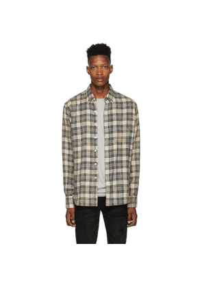 Faith Connexion Grey and Beige Bleached Regular Shirt