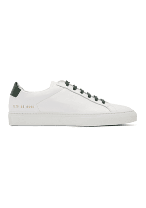 Common Projects White and Green Retro Low Glossy Sneakers