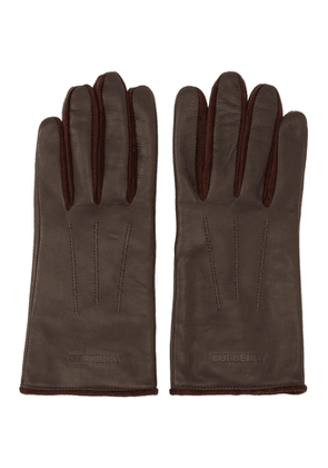 Burberry Burgundy Leather and Velvet Classic Gloves