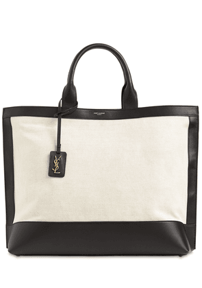 Cabas Canvas & Leather Tote Bag