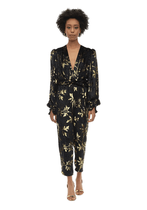 Long Draped Velvet Jacquard Jumpsuit