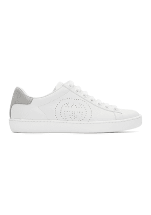 Gucci White and Grey Interlocking G New Ace Sneakers